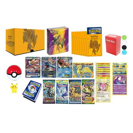 Pokemon Cards Premium Collection: 1 GX, 1 EX, 1 Mega EX, 1 Break Evolution, 6 Holo Foils, 10 Rares 120HP+, 4 Booster Packs, Mini Album, 65 Elite Sleeves, Deck Box, Pokeball, Figure and (Top Ten Best Mega Evolutions)