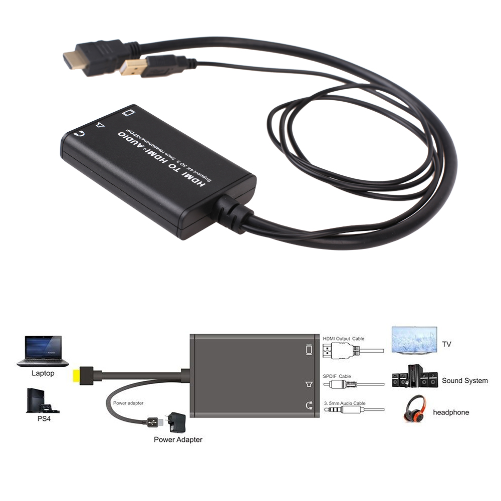 4K X 2K 3D HDMI to HDMI + Optical SPDIF + 3.5mm Audio Extractor Converter Splitter