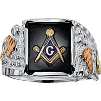 Mens Black Hills Gold Masonic Ring in Sterling Silver with 14 X 12 Natural Onyx Black Hills Gold Onyx