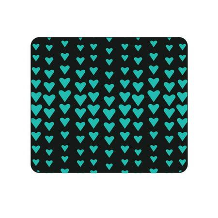 OTM Prints Black Mouse Pad, Falling Turquoise Hearts