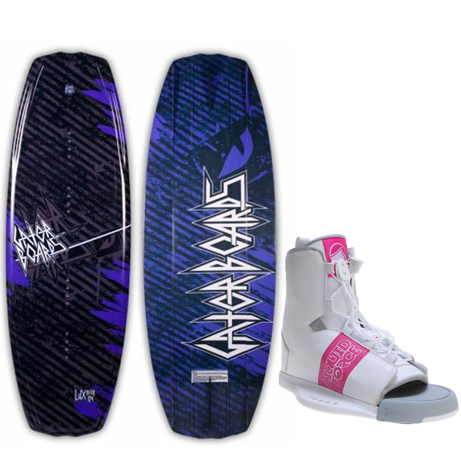Gator Boards Lux Wakeboard 124 Womens + Liquid Force Alpha Bindings O S 6-10 by Gator Boards