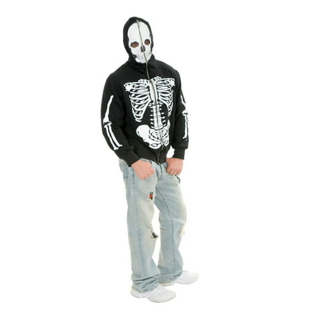 Halloween Skeleton Hoodie Adult Costume - Clip Art Halloween Skeleton