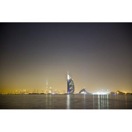 Canvas Print Dubai Arabian Bay Gulf Water Night Arabic Stretched Canvas 10 x 14](Women In Arabian Nights)