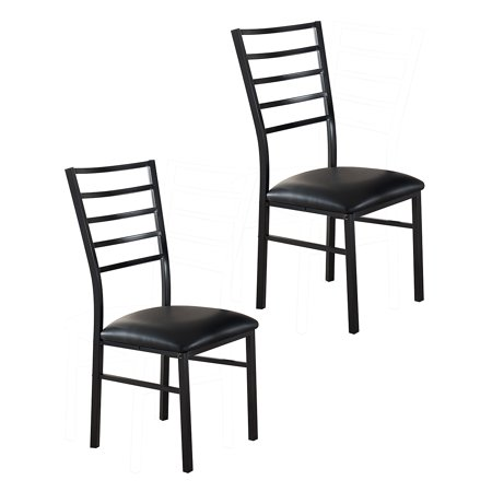 Pilaster Designs Black Metal Dining Room Chair With Vinyl Seat Set Of 2 Ch