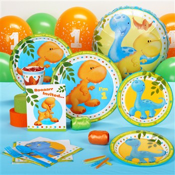 Little Dino 1st Birthday Standard Party Pack - 16