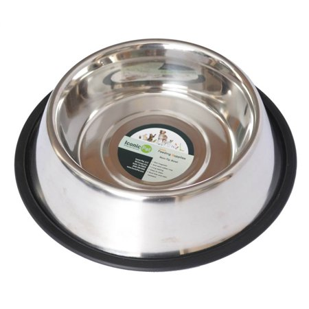 Iconic Pet Stainless Steel Non-Skid Pet Bowl For Dog Or Cat, 32 Oz, 4 Cup