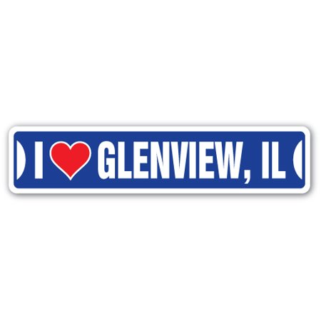 I Love Glenview Illinois Street 3 Pack of Vinyl Decal Stickers
