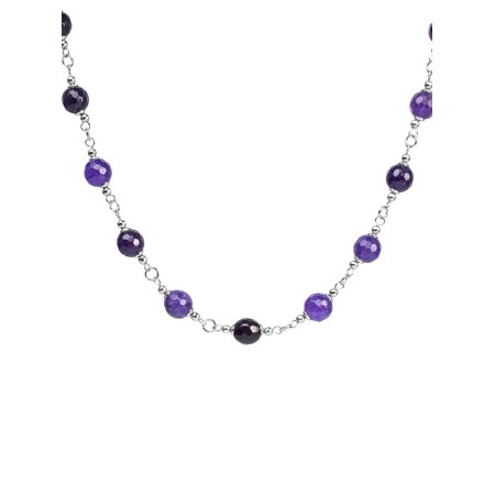 Natural Mixed Purple Agate Strand Stainless Steel Necklace - 17
