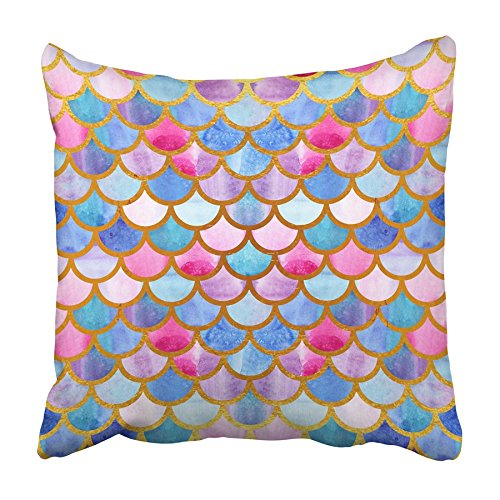 USART Mermaid Scales Watercolor Fish Bright Summer Pattern with Reptilian Gold Pillowcase Cushion Cover 18x18 inch