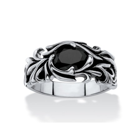 Men's Oval-Cut Black Crystal Scrolling Leaf Ring in Antiqued Stainless Steel ()
