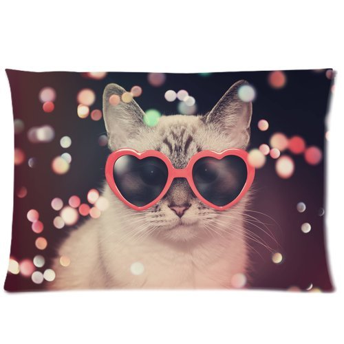 ZKGK Hipster Sunglasses Polka Dot Cat Pillowcase Standard Size 20 x 30 Inches for Couch Bed,Cat Color Sparkles Pillow Cases Cover Set Pet Shams Decorative