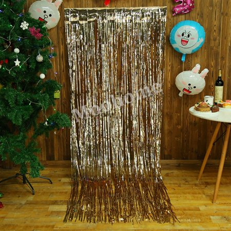 2 pack big 3ft x 8ft champagne gold foil curtains backdrop door window curtain party decoration - Foil Christmas Door Decorations