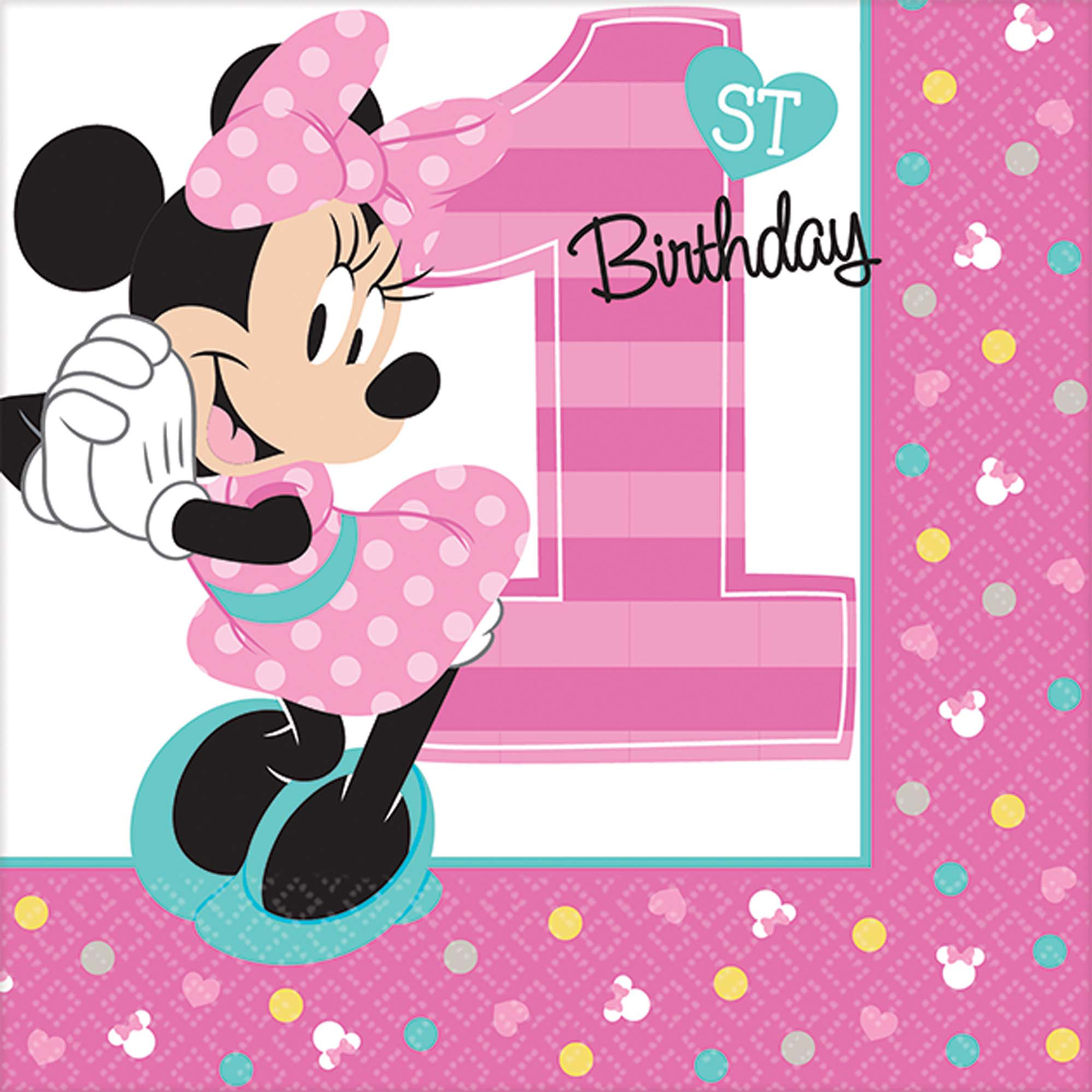 Disney Minnie Mouse 1st Birthday Beverage Napkins (16 Count)