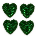 Expo Int'l Heart Sequin Applique - Kelly Green - Mini - 4 pcs. (Kelly Mini)