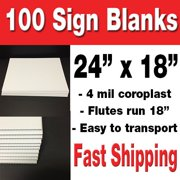 100 Pack of 18x24 Blank Corrugated Plastic Signs