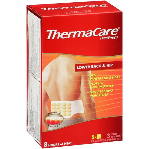 Thermacare Lower Back & Hip Heat Wraps, S-M, 3 ct