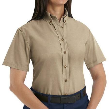 RED KAP Women's Short Sleeve Button-Down Poplin Shirt - SP81KH