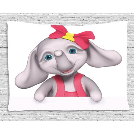 Elephant Nursery Decor Tapestry, Cheerful Baby Girl Smiling Elephant 3D Cartoon Style Print, Wall Hanging for Bedroom Living Room Dorm Decor, 80W X 60L Inches, Pink Grey Yellow, by - Smiling Elephant