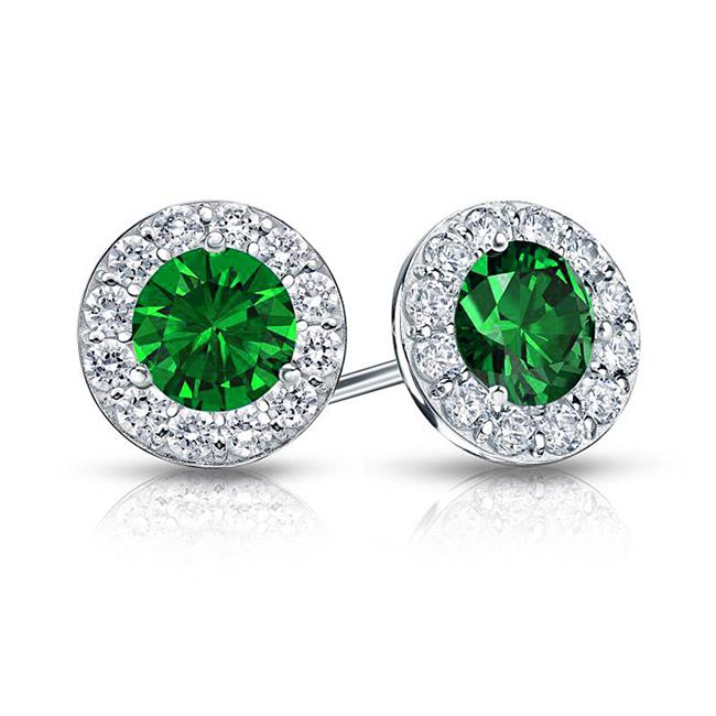 Fine Jewelry Vault UBUERBK200AGCZE Created Emerald and CZ Halo Stud Earrings in Sterling Silver 2. ct. tw