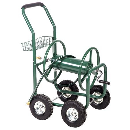 Heavy-Duty Garden Hose Reel Cart w/ Basket (Best Hose Reel Cart)