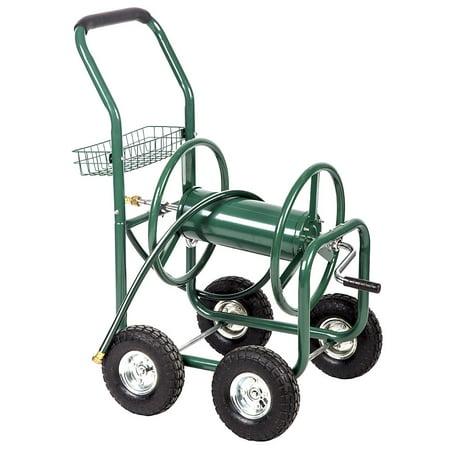 Heavy-Duty Garden Hose Reel Cart w/ Basket