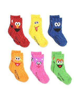 Sesame Street Elmo Boys Girls Multi Pack Crew Socks with Grippers SS9325