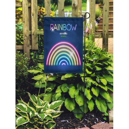 NUDECOR Glowing Neon Lights Brushes in Rainbow Colors on Dark Easy Garden Flag Decorative Flag House Banner 12x18 inch - image 2 de 2