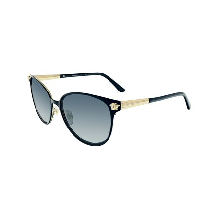 Versace Women's VE2168-137787-57 Black Cat Eye (Women's Black Cat Eye Sunglasses)