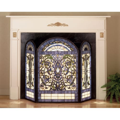 Meyda Tiffany 48103 Stained Glass / Tiffany Fireplace Screen from the Floral Ele