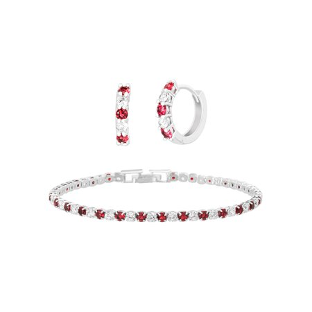 Lesa Michele Cubic Zirconia Ruby Tennis Bracelet and Huggie Earring Set in Brass