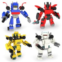 504 PCs Nanoblock Transformers Toys, 4-in-1 Transformer Car Robots Building Blocks Including Transformers Bumblebee, Optimus Prime , Sideswipe & Jazz F-239