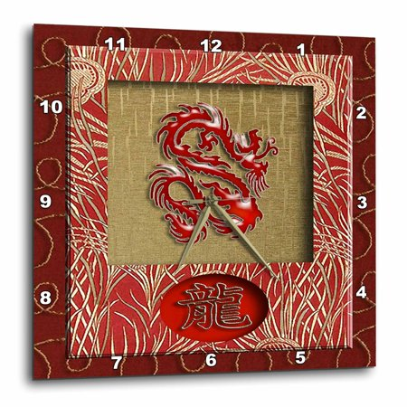 3dRose Chinese New Year, Dragon in Chinese, Red Dragon on Gold , Wall Clock, 15 by - Red Chinese