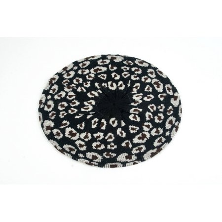 Leopard Print Light Beret Knitted Style for Fall and Winter 159HB