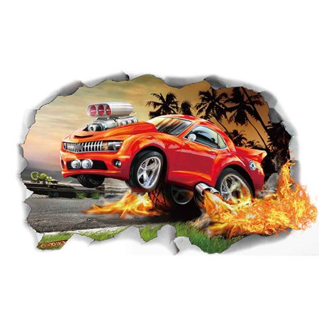 Automobile Car Hole Design Pattern 3D Wall Stickers Removable PVC Wall Decal Tattoo for Living (Cars Removable Wall)