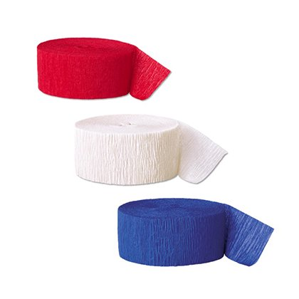Red, White, and Blue Crepe Paper Streamers, 81ft, 3ct - Red And White Streamers