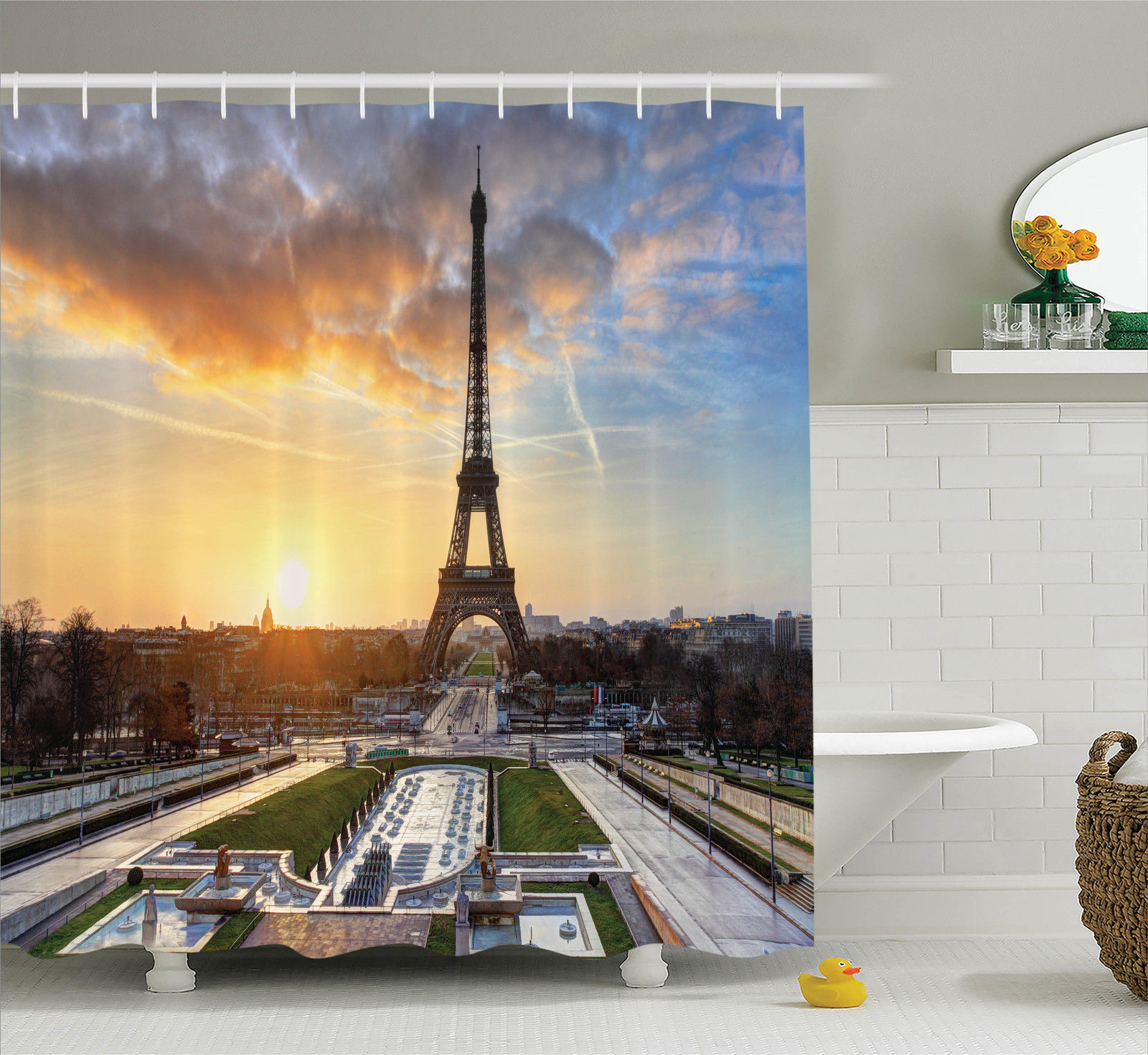 Eiffel Tower Decor Sunrise In Paris, With Eiffel Tower Holidays Getaways Decorative Scenic Picture, Bathroom Accessories, 69W X 84L Inches Extra Long, By Ambesonne