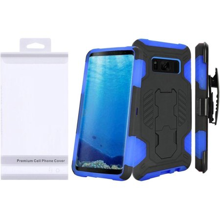 Samsung Galaxy S8 Case, by Insten SuperCoil Dual Layer [Shock Absorbing] Hybrid Stand Hard Snap-in Case Cover Holster For Samsung Galaxy S8, Black/Blue