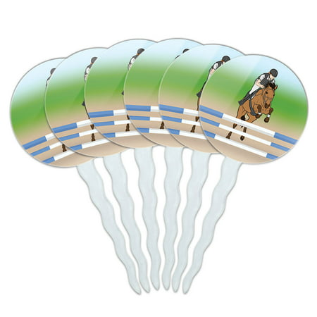 Horse Show Jumping Cupcake Picks Toppers - Set of