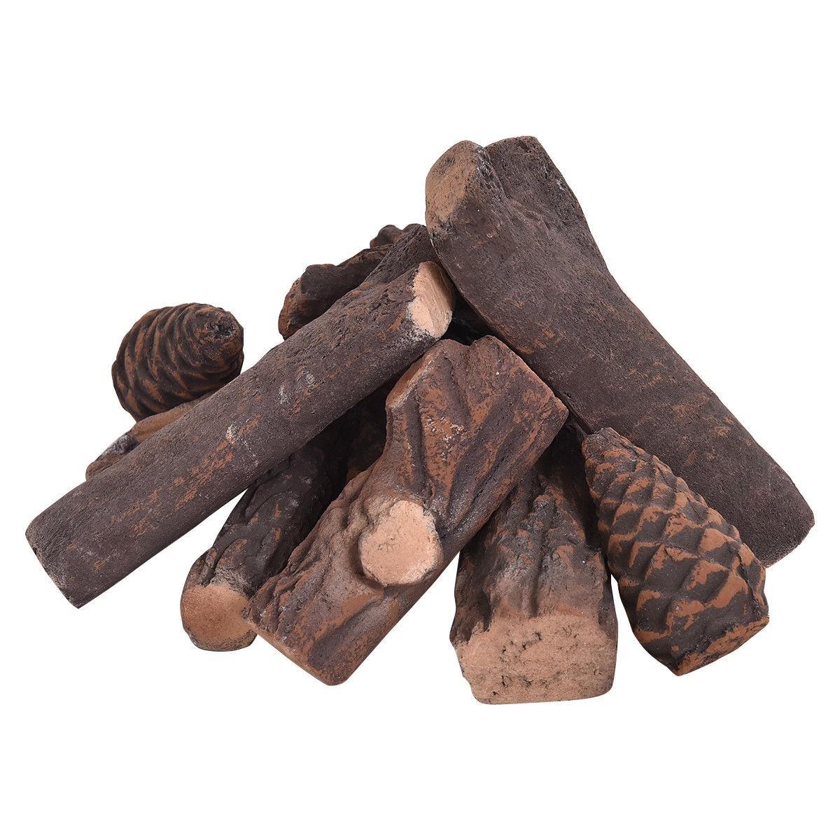 9 pcs Ceramic Fireplace Imitation Wood Propane Log Set