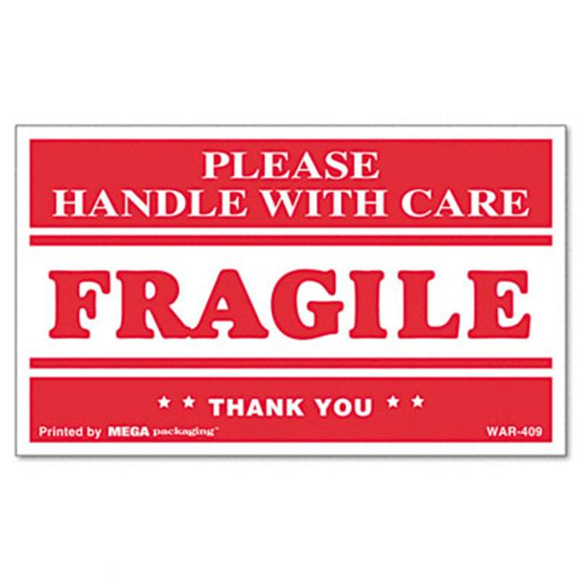 universal 308383 fragile handle with care self adhesive shipping