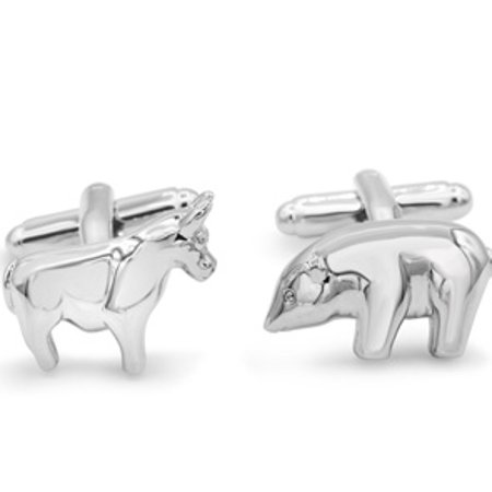 Octavius Stainless Steel Polar Bear and Bull (Bull Bear Cufflinks)