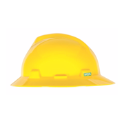 MSA Yellow V-Gard Polyethylene Slotted Full Brim Hard Hat With Staz On 4 Point Pinlock Suspension
