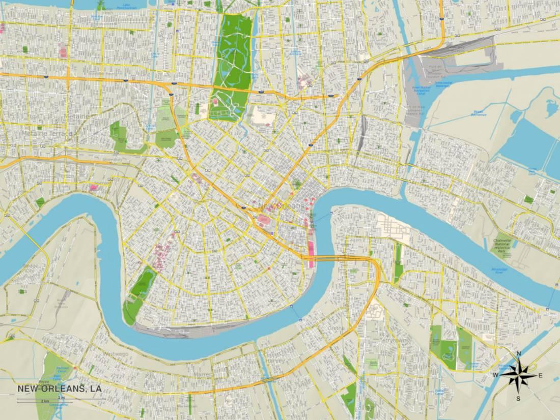 picture relating to Printable Maps of New Orleans referred to as Political Map of Clean Orleans, LA Print Wall Artwork