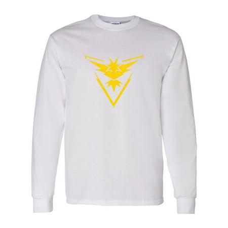26b0614c Custom Apparel R Us - Pokemon Go Gym Team Instinct Yellow Mens Long Sleeve T -Shirt Top - Walmart.com