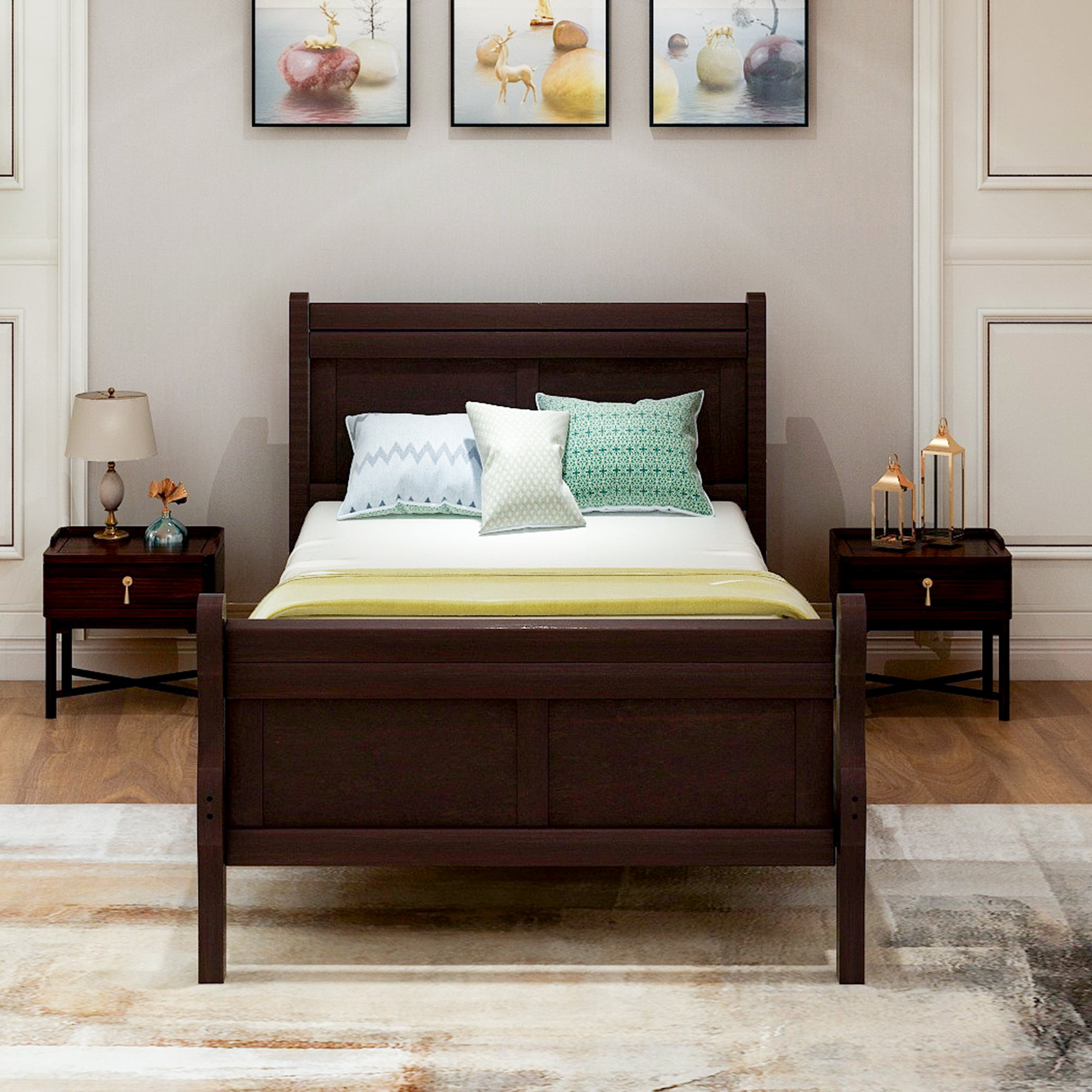 Clearance!Espresso Twin Bed Frame, Wood Twin Platform Bed ...