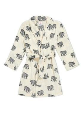 Boys Girls Robe Soft Hooded Flannel Bathrobes for Kids with Silk Eye Sleep Mask Size 4-12