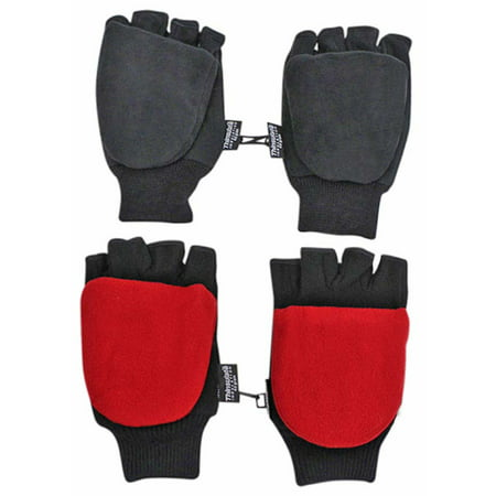 Black & Red 2-Pack Men's Convertible Fingerless Gloves With Mitten Cover (Black And Red Gloves)