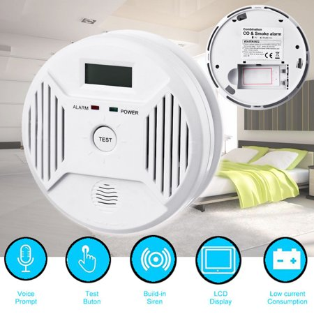 Carbon Monoxide&Smoke Alarm,Arzil Profession Home Safety CO Carbon Monoxide Poisoning Smoke Gas Sensor Warning Alarm Detector LCD Displayer Dining room Kitchen (Best Home Smoke Detectors)
