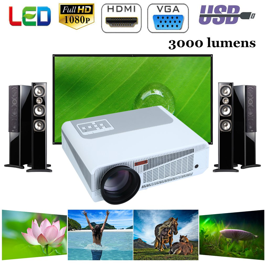 Smart 3000Lumens 3D 4K LED Video Projector Bluetooth Home Theater 2000:1 HDMI
