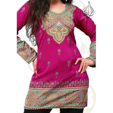 Beautiful Women Tops, Indian Kurti Tunic, Kurta Sale :  AMEERA | FUSCHIA | GARMENT BUST SIZE (Womens Kurtas)